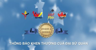 Thông báo khen thưởng của Đại sứ quán trong năm 2017 – 2018
