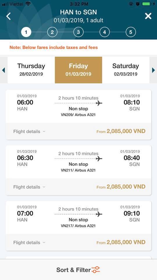 Tìm kiếm lịch trình bay phù hợp về thăm nhà.
