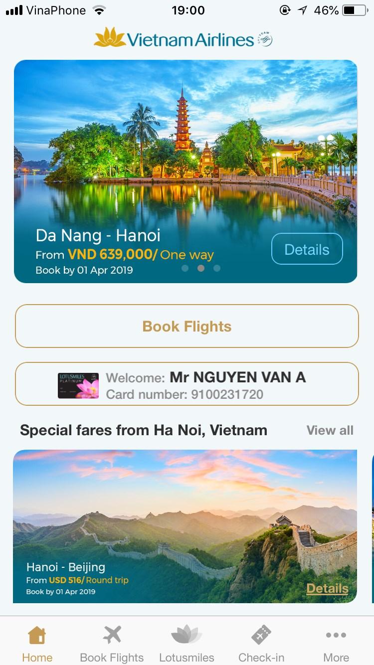 Đặt vé và check in online có thể được thực hiện qua App